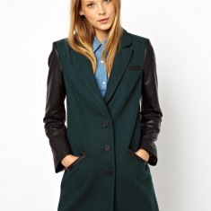 Palton dama Zara - NOU Palton tip sacou ASOS toamna iarna verde maneca lunga imitatie piele marimea UK 14 EUR 42 L XL