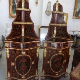 Set de 2 coltare superbe de dimensiuni mari in stare impecabila intarsiate cu bronzuri - Mobilier