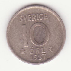 (1) MONEDA DIN ARGINT SUEDIA - 10 ORE 1957, Europa