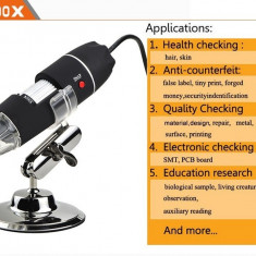 Microscop video digital 500X USB cu stand 2MB 8LED 30FPS High Speed DSP +CADOU!