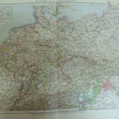 Harta color Imperiul German statele componente Leipzig 1899 - Harta Germaniei