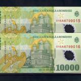 ROMANIA - 2 BANCNOTE 10 000 LEI POLIMER, NECIRCULATE, SERII CONSECUTIVE