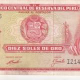 bnk bn peru 10 soles de oro 1970 xf