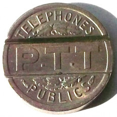G5. JETON / FISA PTT TELEFON PUBLIC FRANTA 1937, 18 mm ** - Jetoane numismatica