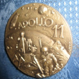 APOLLO 11- Medalie 1969- First men on the moon, alama argintata, semnata AFFER