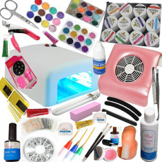 Kit set unghii gel manichiura unghii false lampa uv pila electrica aspirator