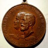 5.380 MEDALIE ROMANIA TRAIAN CAROL I EXPOZITIUNEA GENERALA ROMANA BUCURESTI 1906 50mm