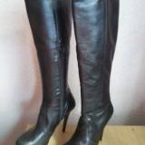 Cizme piele neagra naturala cu toc (13cm) si platforma, Italia nr. 38 - Cizme dama, Negru