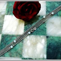 SUPERB LĂNȚIȘOR DE DAMĂ VINTAGE DIN ARGINT .925 ORNAT CU MĂRGELE, 4.1 GRAME! - Lantisor argint, Femei