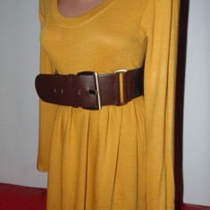 Rochie tricotate, Mustar, M, Scurta, Lunga - ROCHIE TRICOTATA MAR.M