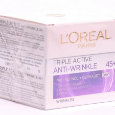Cremă de față L'Oreal Paris Triple Active Anti-Wrinkle 45+ Day, Matur
