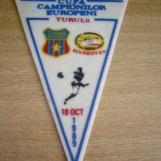 Fanion fotbal - PENTRU UN FAN STEAUA - STEAUA BUCURESTI - EINDHOVEN - CCE - 18 10 1989