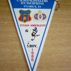Fanion fotbal - PENTRU UN FAN STEAUA - STEAUA BUCURESTI - ANDERLECHT - CCE - 05 11 1986