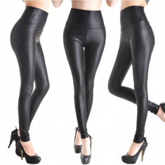 Colanti pantaloni piele ecologica latex negru lucios wet look - Colanti dama, Marime: S, M, L, XXL