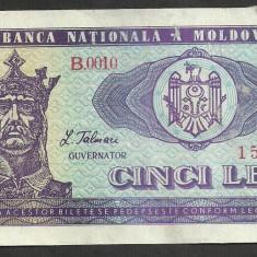 MOLDOVA 5 LEI 1992 [11] P-6, colt lipsa