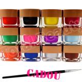 Set 12 geluri UV Color Mate EzFlow, set gel UV Color Mat + CADOU Pensule Pictura - Gel unghii