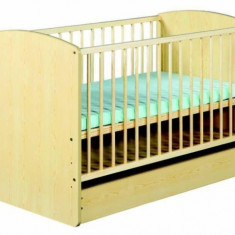 Patut lemn pentru bebelusi - Patut din lemn cu sertar Karolina II Natur Klups