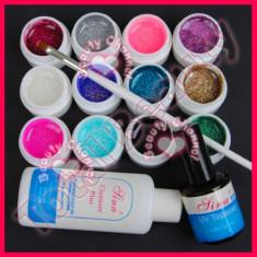 Set 12 Geluri colorate UV cu sclipici ENS PRO Germania degresant finish pensula - Gel unghii
