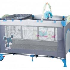 Patut pliant bebelusi - Patut pliant cu 2 nivele SleepWell 120 x 60 cm Blue BabyGo