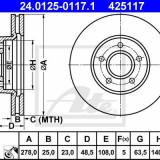Disc frana fata Ford Focus 2- 278 mm ATE