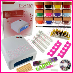 Kit Unghii Gel cu Lampa UV 12 geluri UV color si accesorii + CADOU Ulei cuticule - Unghii false