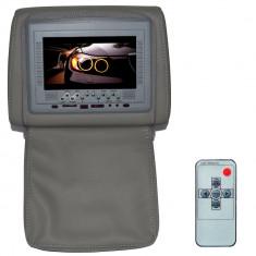 Resigilat - Tetiera cu monitor si fermoar, 7 inch culoare Gri, PNI 667C-G - DVD Player Portabil