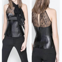 Nou! Top sexy negru dantela/ piele eco, ZARA, marimea S - Top dama Zara, Marime: S, Universala, Fara maneca