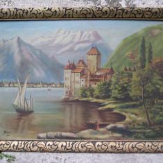 Castel pe Dunare, tablou pictat in ulei pe panza de Molnar, pictor maghiar - Pictor roman, Peisaje, Cerneala, Altul