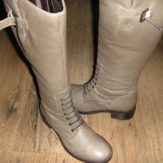 LICHIDARE STOC! Superbe cizme dama NOI piele model stil bocanci inalti Sz 36 !, Culoare: Greige, Piele naturala