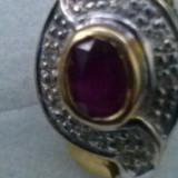 Cercei din aur 21k cu diamnte in platina si un superb rubin natural - Cercei cu diamante