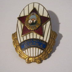 Insigna Comunista Absolvent Academia Militara Generala RPR. Serie ft mica 186