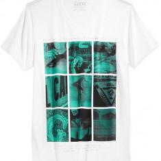 Tricou GUESS Chopped Box T-Shirt masura S M - Tricou barbati Guess, Culoare: Alb, Maneca scurta, Bumbac
