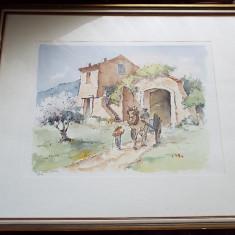 Tablou acuarela - Tablou autor neidentificat, Peisaje, Altul