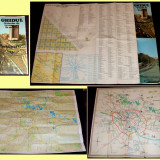1984 Bucuresti - Ghidul traseelor de transport in comun, 5 harti format mare - Harta