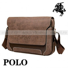 POLO OXFORD– geanta de umar orizontala din piele + material tip Oxford - Geanta Barbati Polo Sport, Marime: Medie, Geanta tip postas