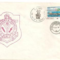INTREG POSTAL 4810 ROMANIA, FILATELIE TEMATICA MARINA, PLIC OCAZIONAL, DATAT 18.06.1986, VIZITA NAVA USS CORONADO IN PORT CONSTANTA, STAMPILA VAPOR., Dupa 1950