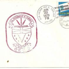 INTREG POSTAL 4811 ROMANIA, FILATELIE TEMATICA MARINA, PLIC OCAZIONAL, DATAT 20.06.1979, VIZITA NAVA USS RICHMOND K. TURNER IN PORT CONSTANTA., Dupa 1950