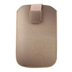 Toc Lux iPHONE 4/Samsung Ace Bej - Husa Telefon Atlas, Maro, Piele Ecologica