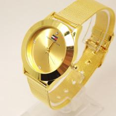 Ceas dama TOMMY HILFIGER gold( Poze reale, Garantie), Fashion, Quartz, Inox, Analog