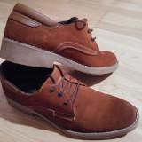 Pantofi piele intoarsa maro - Pantofi barbati, Marime: 40