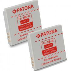 Baterie Aparat foto - PATONA | 2 Acumulatori compatibili Canon NB-4L NB-4LH NB4L