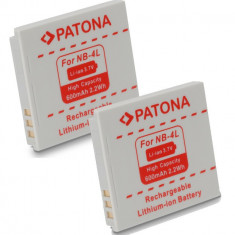 Baterie Aparat foto - A PATONA | 2 Acumulatori compatibili Canon NB-4L NB-4LH NB4L