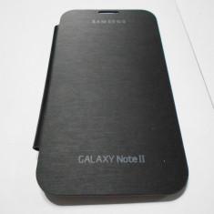 Husa FLIP cu NFC Samsung Galaxy Note 2 II N7100 - Husa Telefon Akella, Negru, Piele, Cu clapeta