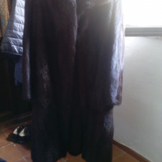 Haina de blana de vizon model clasic, lunga - Palton dama, Marime: 48/50, Culoare: Maro