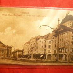 Ilustrata Timisoara - Bdul Regele Ferdinand, Libr. Moronet, cu pereche Taxe de plata 1 leu si 2 lei verde Ferdinand - Carte Postala Banat 1904-1918