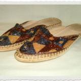 Papuc dama foarte frumos cu aplicatii din margele masura 39 - Papuci dama, Culoare: Multicolor