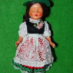Papusa /papusica etno, costum traditional austriac (tirolez, german), fetita, plastic, 18cm, cu ochi care se dechid si inchid, colectie, vechi, vintag - Papusa de colectie