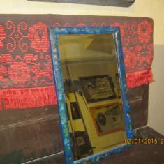 VINTAGE-obiect traditional TRANSILVANIA rustic-Oglinda fasetata, rama pictata, spate din scandura - Mobilier