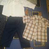 Set botez pantalon +camasa, bonus camasa cu maneca scurta, model pt baieti, marime 6 luni - Trusou botez
