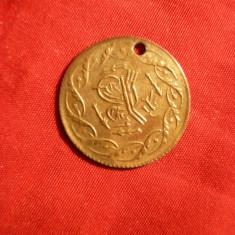 Jeton pt. Tripouri Turcia, sec.XIX -imita moneda aur -gaurit, metal aurit - Jetoane numismatica